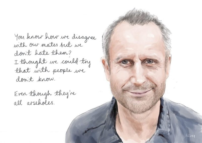 Rosie johnson illustrates jeremy hardy portrait