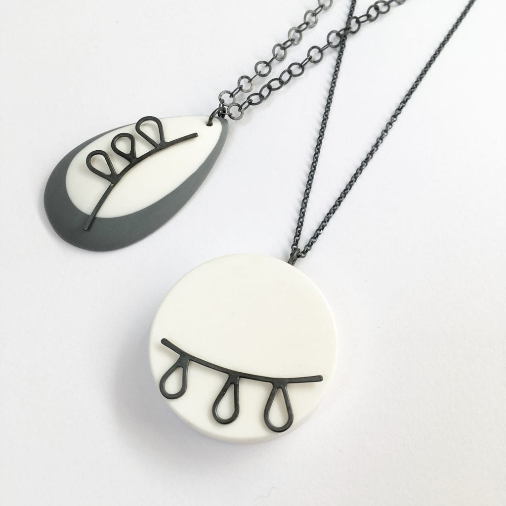 Claire Lowe Jewellery pendants - Devon-based silver and resin jewellery designs